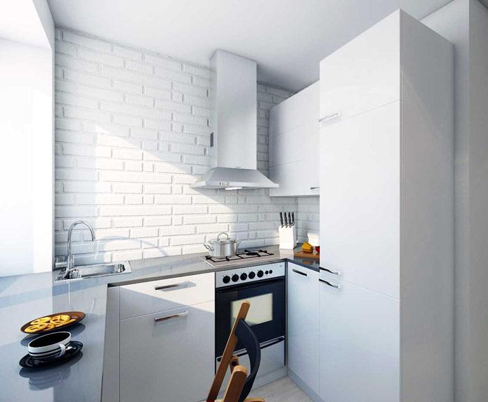 Кирпич в стиле лофт в интерьере кухни
