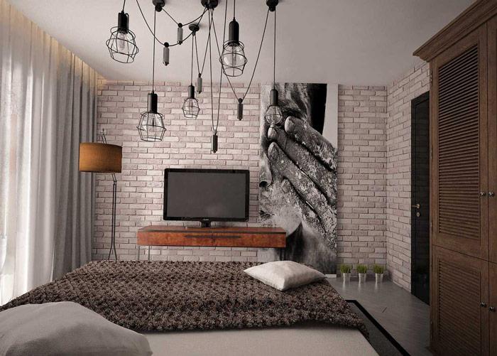 Декоративный кирпич лофт в интерьере гостиной